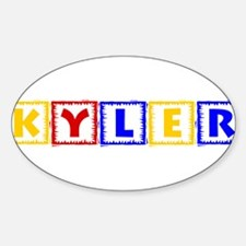 KYLER (primary squares) Oval Decal