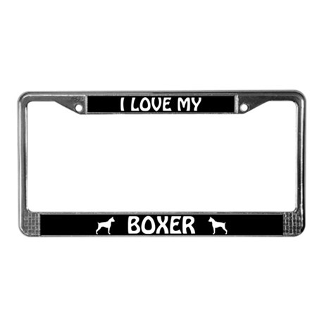 I Love My Boxer (Cropped Ears) License Plate Frame