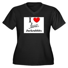 I Love Jackrabbits Women's Plus Size V-Neck Dark T