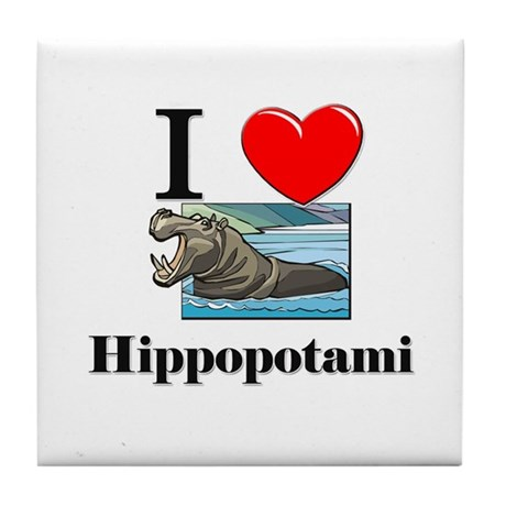 I Love Hippopotami Tile Coaster