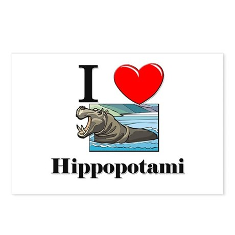 I Love Hippopotami Postcards (Package of 8)