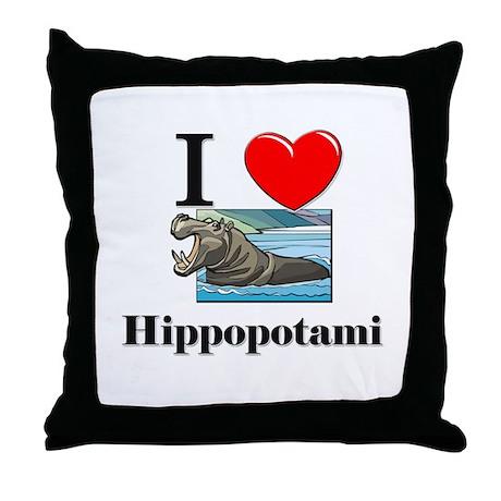 I Love Hippopotami Throw Pillow