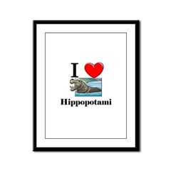 I Love Hippopotami Framed Panel Print