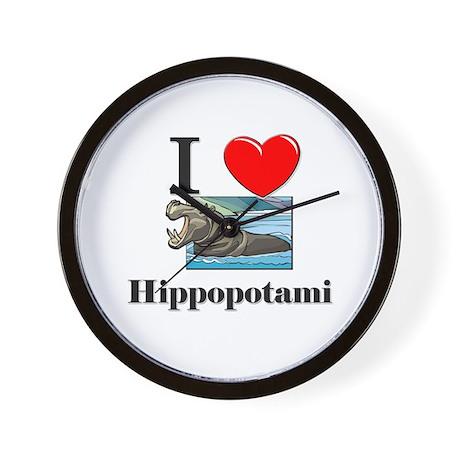 I Love Hippopotami Wall Clock