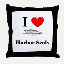 I Love Harbor Seals Throw Pillow