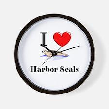 I Love Harbor Seals Wall Clock