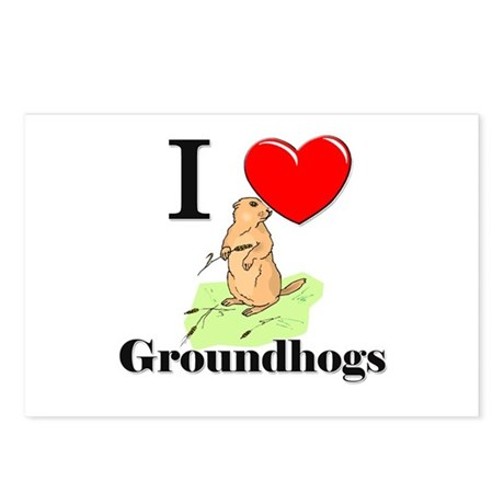 I Love Groundhogs Postcards (Package of 8)