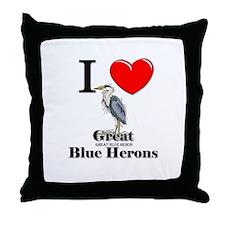 I Love Great Blue Herons Throw Pillow