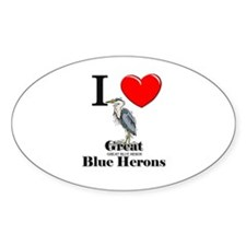 I Love Great Blue Herons Oval Decal