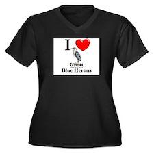 I Love Great Blue Herons Women's Plus Size V-Neck