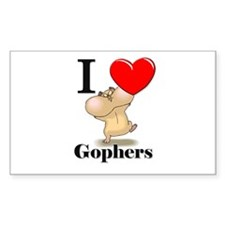 I Love Gophers Rectangle Decal