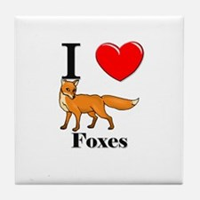 I Love Foxes Tile Coaster