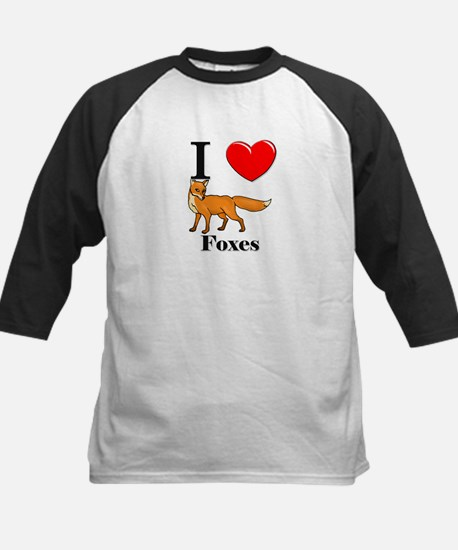 I Love Foxes Kids Baseball Jersey