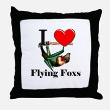 I Love Flying Foxs Throw Pillow