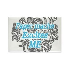 Paper mache Excites Me Rectangle Magnet