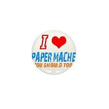 I love Paper mache Mini Button