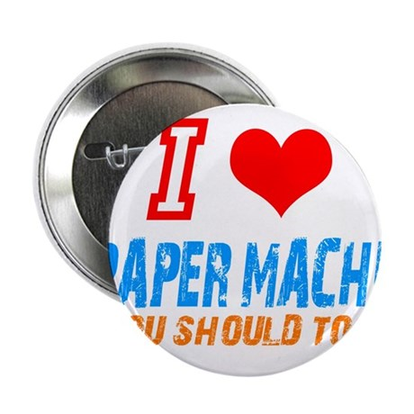 "I love Paper mache 2.25"" Button (10 pack)"