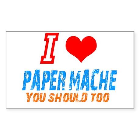 I love Paper mache Rectangle Sticker