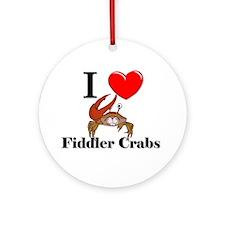 I Love Fiddler Crabs Ornament (Round)