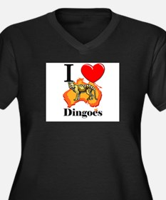 I Love Dingoes Women's Plus Size V-Neck Dark T-Shi