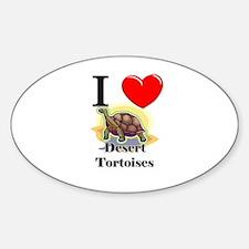 I Love Desert Tortoises Oval Decal