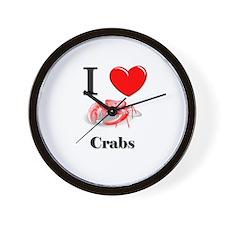 I Love Crabs Wall Clock