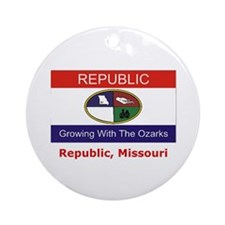 Republic MO Flag Ornament (Round)