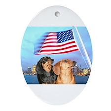USA Dachshunds Oval Ornament