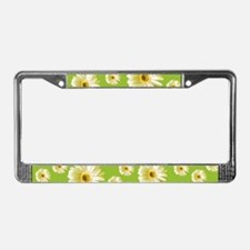 Pop Art White Daisy License Plate Frame