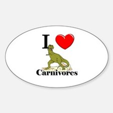 I Love Carnivores Oval Decal