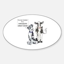 N Great Dane & Cow Oval Decal