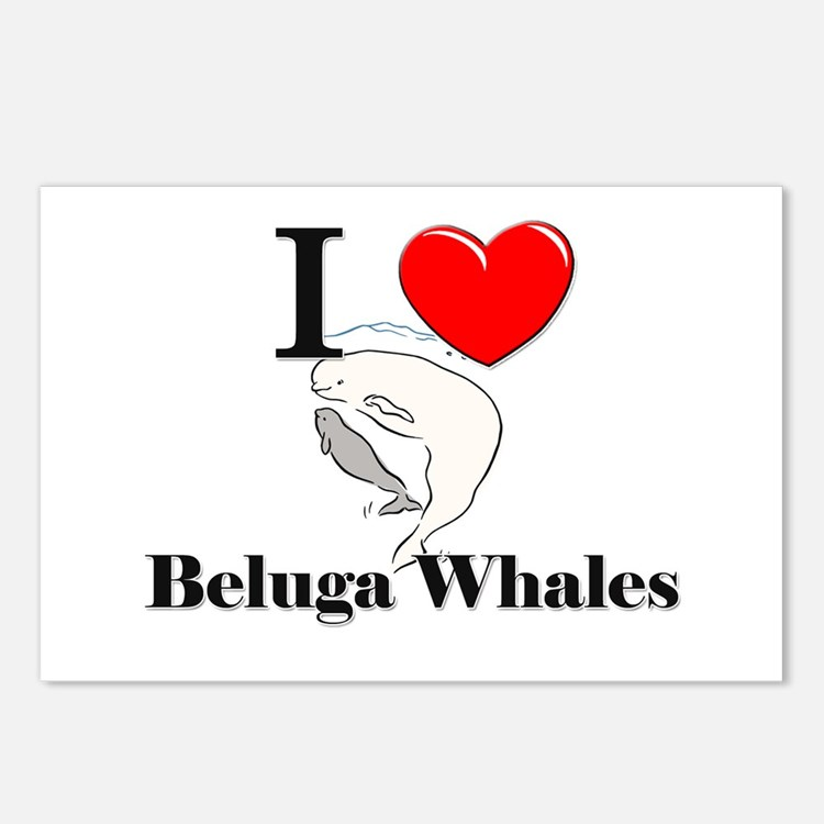 I Love Beluga Whales Postcards (Package of 8)