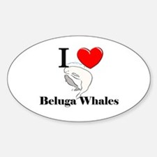 I Love Beluga Whales Oval Decal