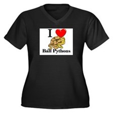I Love Ball Pythons Women's Plus Size V-Neck Dark