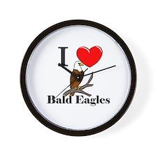 I Love Bald Eagles Wall Clock