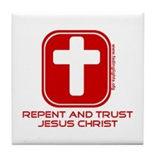 Repent And Trust (with Cross) Tile Coaster