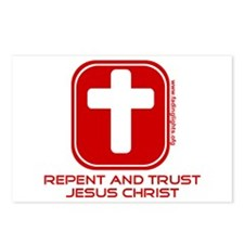 Repent And Trust (with Cross) Postcards (Package o
