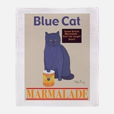 Blue Cat Marmalade Throw Blanket