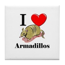 I Love Armadillos Tile Coaster