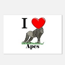 I Love Apes Postcards (Package of 8)