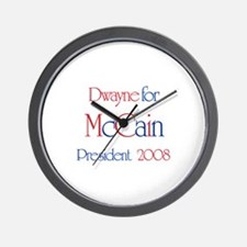 Dwayne for McCain 2008 Wall Clock