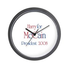 Harry for McCain 2008 Wall Clock