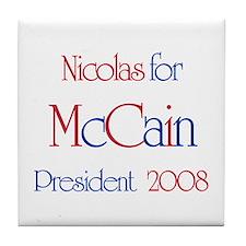 Nicolas for McCain 2008 Tile Coaster