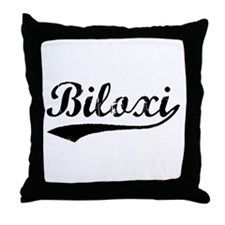 Vintage Biloxi (Black) Throw Pillow