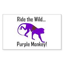 Ride the Wild Purple Monkey Rectangle Decal