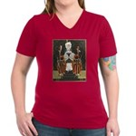 Vintage Queen of Hearts Women's V-Neck Dark T-Shir