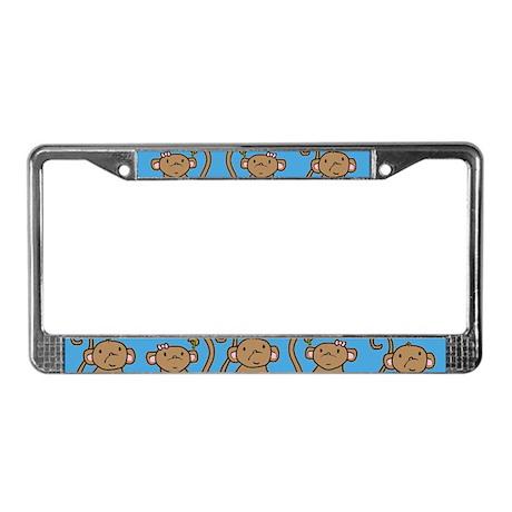 Cute Monkey Couple License Plate Frame
