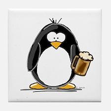 Beer Drinking Penguin Tile Coaster