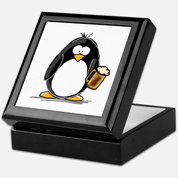 Beer Drinking Penguin Keepsake Box