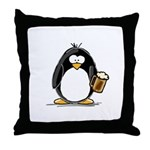 Beer Drinking Penguin Throw Pillow